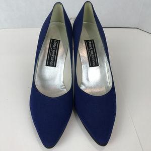 Stuart Weitzman Blue Crepe heels Sz 8.5